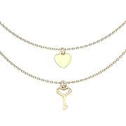 Kette vergoldet Anhänger Herz und Schlüssel