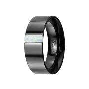 Ring schwarz mit Opal streifen