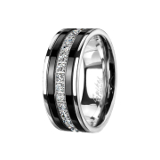 Ring silber schwarze Streifen mit Kristallstreifen
