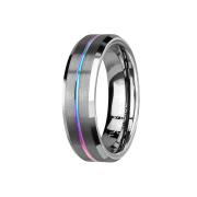 Ring silber gebürstet mit abgeschrägten Kanten rille farbig