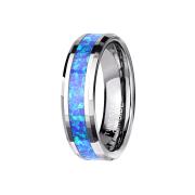 Ring silber mit abgeschrägten Kanten mittig Opal