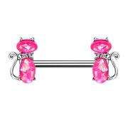 Barbell silber Katze Opal pink