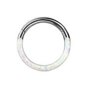 Micro Segmentring silber klappbar front Opal streifen weiss
