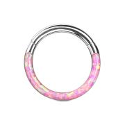 Micro Segmentring silber klappbar front Opal streifen pink