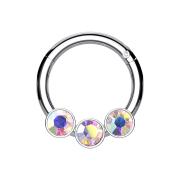 Micro Segmentring silber klappbar drei Kugeln Kristalle multicolor