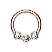 Micro Segmentring rosegold klappbar drei Kugeln Kristalle silber