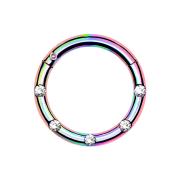 Micro Segmentring farbig klappbar front fünf Kristalle silber