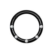 Micro Segmentring klappbar schwarz front fünf Kristalle silber
