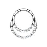 Micro Segmentring silber klappbar doppel front Kristalle silber