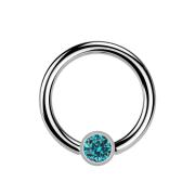 Micro Ball Closure Ring silber und Kristall aqua