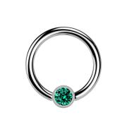 Micro Ball Closure Ring silber und Kristall türkis