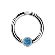 Micro Ball Closure Ring silber und Kristall hellblau