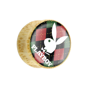 Flared Plug aus Bambusholz Playboy Bunny auf rot...