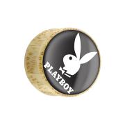 Flared Plug aus Bambusholz Playboy Bunny auf schwarzem grund