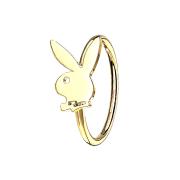Micro Piercing Ring vergoldet Playboy Bunny