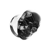 Flared Plug aus Pyrex Glas schwarz Schädel