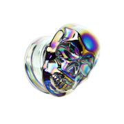 Flared Plug aus Pyrex Glas farbig Schädel