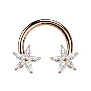 Circular Barbell rosegold Kristallblume silber