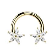 Circular Barbell 14k vergoldet Kristallblume silber