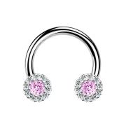 Micro Circular Barbell silber Gänseblümchen Kristall pink