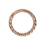 Micro Piercing Ring geflochten rosegold klappbar