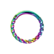 Micro Piercing Ring geflochten farbig klappbar