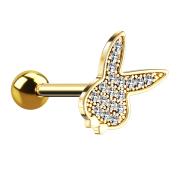 Micro Barbell 14k vergoldet mit Playboy Bunny und Kristallen