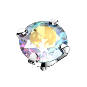 Dermal Anchor silber Kristall multicolor gefasst