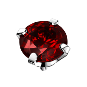 Dermal Anchor silber Kristall rot gefasst