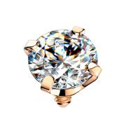 Dermal Anchor rosegold Kristall silber gefasst