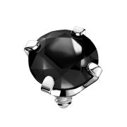 Dermal Anchor silber Kristall schwarz gefasst
