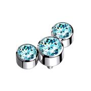 Dermal Anchor silber drei Kristalle aqua