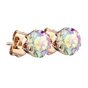Ohrstecker rosegold mit rundem Kristall multicolor
