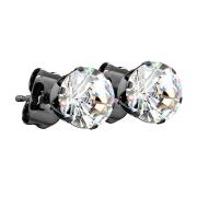Ohrstecker schwarz mit rundem Kristall silber