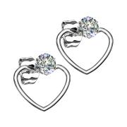 Ohrring silber mit Kristall Anhänger Herz
