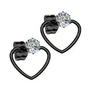 Ohrring schwarz mit Kristall Anhänger Herz