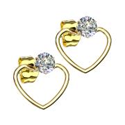 Ohrring vergoldet mit Kristall Anhänger Herz