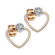 Ohrring rosegold mit Kristall Anhänger Herz