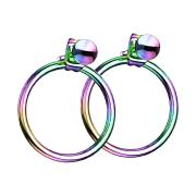 Ohrring farbig mit Kugel Anhänger Ring
