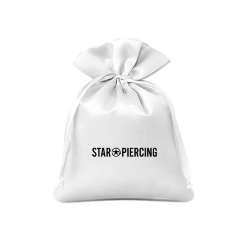 Satinbeutel Star Piercing weiss