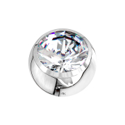 Micro Kugel 14k weissgold mit Kristall silber