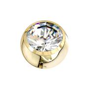 Micro Kugel 14k gold mit Kristall silber
