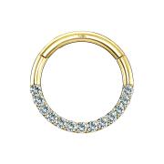 Micro Segmentring 14k gold klappbar front Kristall silber