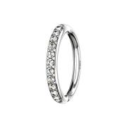 Micro Piercing Ring 14k weissgold seitlich Kristalle silber