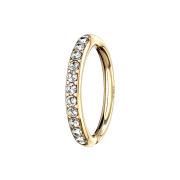 Micro Piercing Ring 14k gold seitlich Kristalle silber
