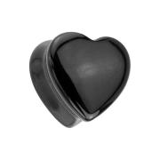 Flared Plug Herz aus schwarzem Onyx Stein