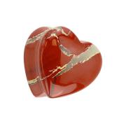 Flared Plug Herz aus rotem Jaspis Stein