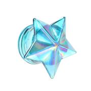Flared Plug blauer Stern aus Glas