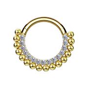 Micro Segmentring vergoldet klappbar front Kristalle...