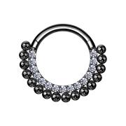 Micro Segmentring schwarz klappbar front Kristalle silber...